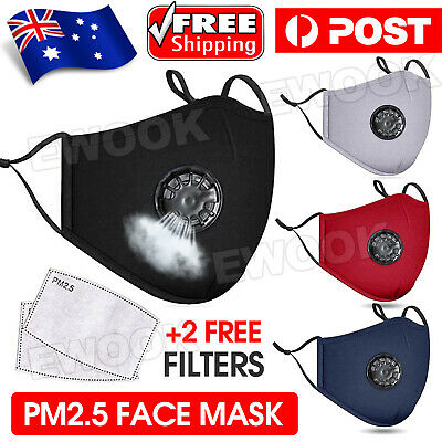 AU10.85 • Buy Washable Face Mask Anti Pollution Cotton Masks Reusable Respirator PM 2.5 Filter