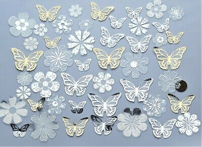 40+ Foiled Transparent Acetate Flowers & Butterflies From Hunkydory Butterfly • 1.99£