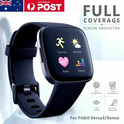 AU6.99 • Buy For Fitbit Sense/ Versa 3 Screen Protector 9H Tempered Full Coverage Glass Guard