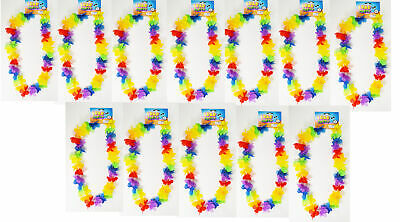 24 Rainbow Flower Leis Luau Hawaiian Tropical Party Favor Necklace LU-RBFLE • 9.31£