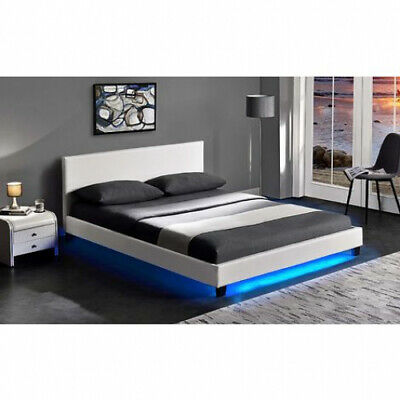 Cherry Tree Furniture URSA White PU Leather Bed Frame With LED On Footend-4FT • 187.99£