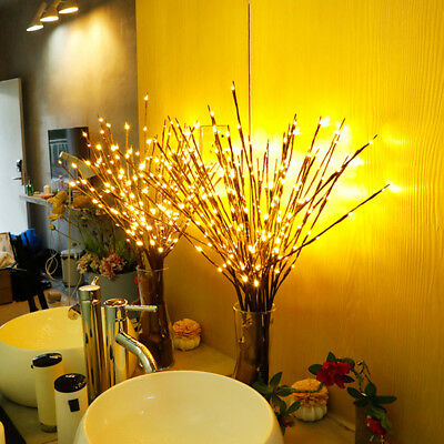 40LED Branch Twig Lights Light Up Willow Tree Branches Christmas Decoration 77cm • 11.50£