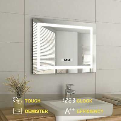 Illuminated Bathroom LED Mirror With Touch Control Demister,Shaver Socket,Clock • 99.99£