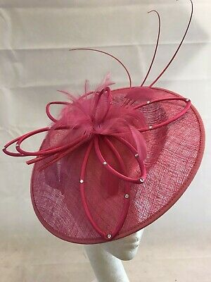 Ladies Stunning Sinamay And Feather Cerise Pink Spectacular Disc Fascinator • 25.06£