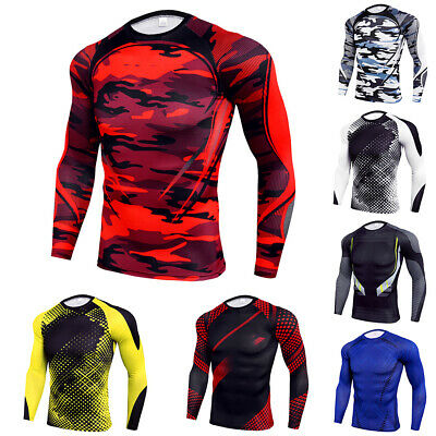 Mens Compression Armour Base Top Long Sleeve Body Fitness Gym Sports Shirt UK • 8.49£