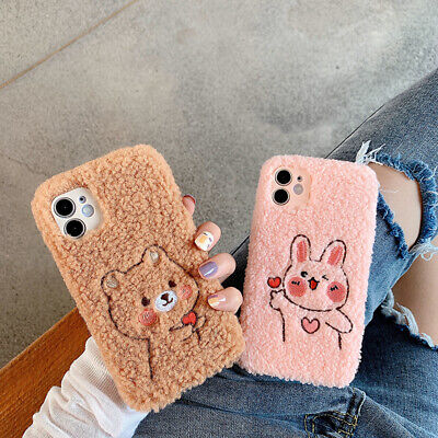 £4.99 • Buy Warm Plush Fluffy Phone Case Cover Faux Fur For IPhone 7 8 Plus XS 11 12 Pro Max
