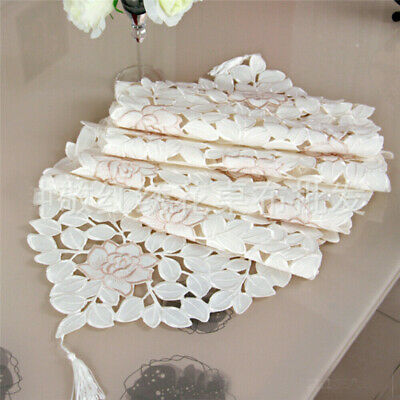 AU14.68 • Buy Table Runner Doilies Lace Embroidered Floral Table Cover Mats Dining Table Decor