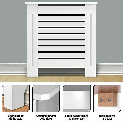 White Radiator Cover Small Large Modern MDF Slats Wood Grill Cabinet Furniture. • 31.45£