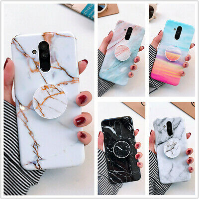 Marble Phone Case Cover For IPhone Samsung Galaxy S7 Note 8 S10 + Socket Holder • 4.26£
