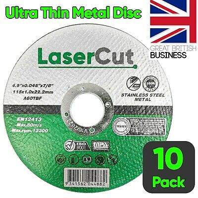 £5.70 • Buy 10 X 115mm 4.5  ULTRA THIN METAL CUTTING BLADE DISC 1/2  STEEL & STAINLESS 1MM