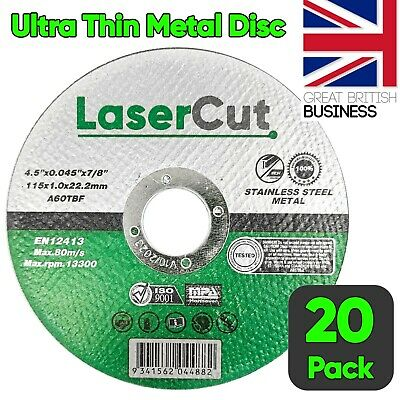 £8.99 • Buy 20 X 115mm 4.5  ULTRA THIN METAL CUTTING BLADE DISC 1/2  STEEL & STAINLESS 1MM