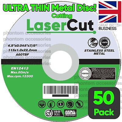 £16.99 • Buy 50 X 115mm 4.5  ULTRA THIN METAL CUTTING BLADE DISC 1/2  STEEL & STAINLESS 1MM