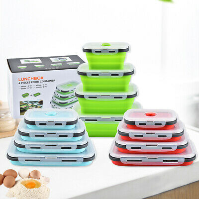 AU8.99 • Buy Silicone Collapsible Lunch Box Portable Folding Food Storage Container Home
