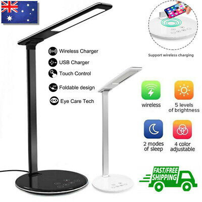 AU22.58 • Buy Dimmable LED Desk Table Lamp Reading Light Wireless Phone Charger Bedside Lights
