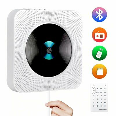 Wall Mounted CD Player FM Radio Bluetooth MP3 Music Player Remote Control White • 36.90£