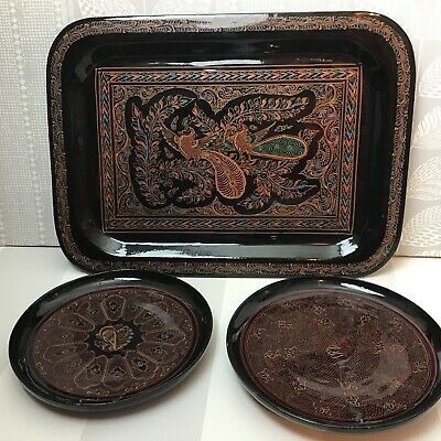 Black Lacquer Ware Tray & 2 Plates With Oriental Designs • 12.99£