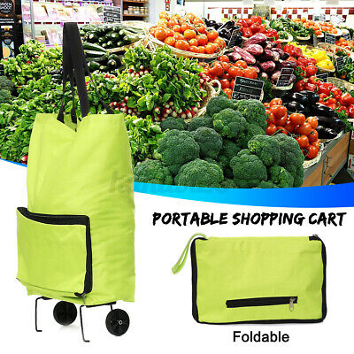 Foldable Cart Rolling Shopping Trolley Bag Shop Grocery Lightweight Wheels  H • 7.99£