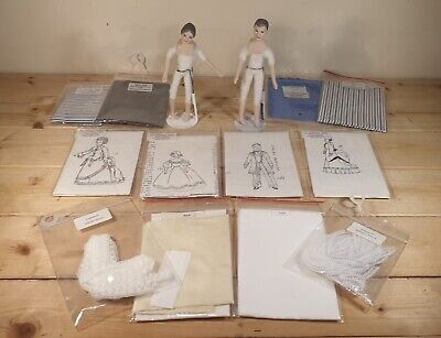 1:12 Vintage Dolls House And Victorian Dress Patterns With Fabrics. • 26£