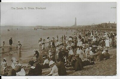 Vintage Postcard,animated Children,the Sands,south Shore,blackpool,rp,1912 • 3.99£