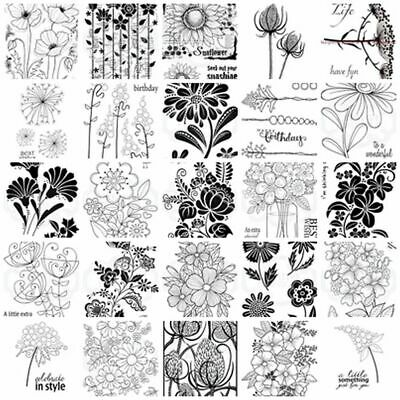 Woodware Clear Stamps - Bubble Bold Blooms Midi Stiches Flowers Sentiments Words • 5.95£