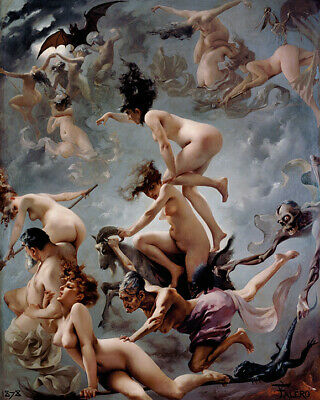 £3.99 • Buy Witches On The Sabbath By Luis Falero Nude Vision Faust Painting Wall Art Print