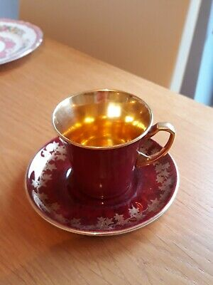Crown Devon Fieldings  China Cup  & Saucer  Red & Gold Gilt Inside. • 4.99£