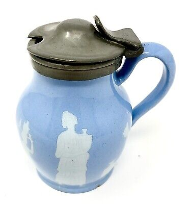 T & R Boote Ironstone Small Jug Pot British Blue Victorian 1880s Pewter Lid • 12.99£