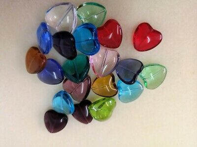 £3.99 • Buy 50gms Clear Glass Puff Heart Pendant Beads In Assorted Colours As Photos