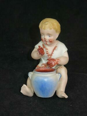 BISQUE PIANO BABY FIGURINE Young Boy With Chocolate Pot • 25£