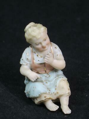 ANTIQUE MINIATURE BISQUE Figurine Young Girl Seated • 15£