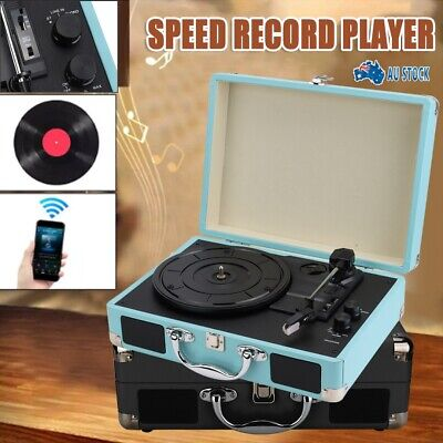 AU74.99 • Buy 3 Speed Briefcase Record Player Suitcase Vinyl Turntable RCA Output Speakers AU