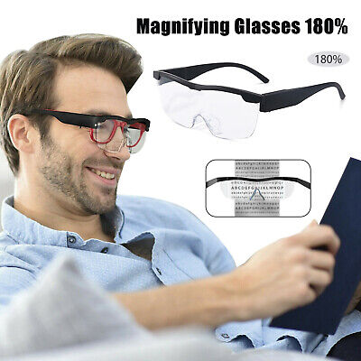 HANDS FREE MAGNIFYING GLASSES MAGNIFIER 180% With LED For READING SEWING PARENT • 7.75£