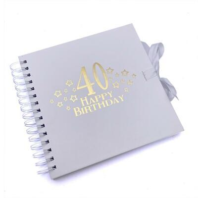 £11.99 • Buy 40th Birthday White Scrapbook, Guest Book Or Photo Album With Gold Script