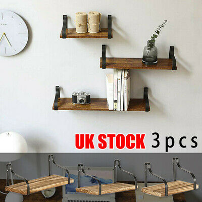 Set Of 3 Floating Industrial Rustic Wooden Wall Storage Shelves Rack Home Decor • 17.99£
