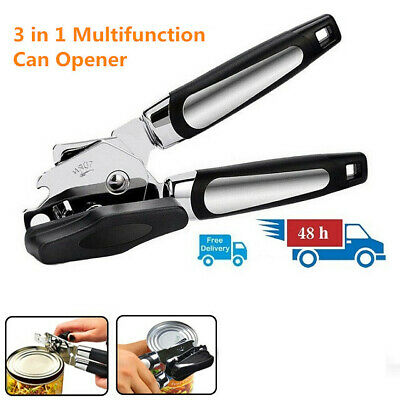 £4.99 • Buy Stainless Steel Heavy Duty Tin Can Opener Cutter Easy Comfy Handle Grip Kitchen