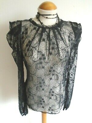 Gothic Heroine Blouse Black Lace Victorian Edwardian Goveness Pagan 14 • 19.99£