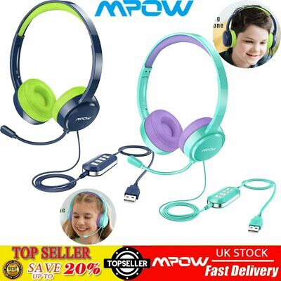 Mpow USB 3.5mm Kids Wired Computer PC Headset Headphones W/ MIC For Centre Skype • 25.75£