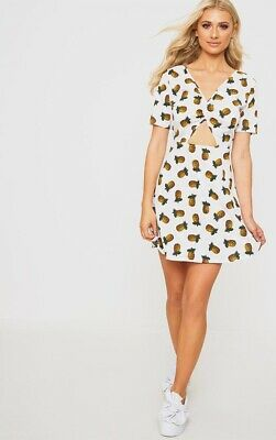 Pretty Little Thing Skater Pineapple Dress With Cut Out Centre Size 12 • 1.10£