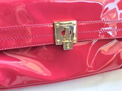 £59.99 • Buy Beautiful Russell & Bromley Pink Patent Clutch Bag With Carry Strap