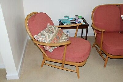 Vintage Retro Original Blonde Ercol 203 Windsor Armchair With Cushions Collect • 350£