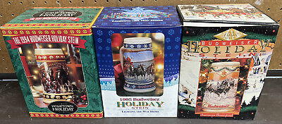 $ CDN29.24 • Buy Lot Of 3 Budweiser Holiday Beer Steins 1994, 1995, 1996 W/ COA'S All New In Box
