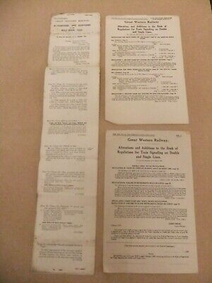 GWR Great Western Railway - Rule Book Alterations & Additions 1933 & 1939 • 0.99£