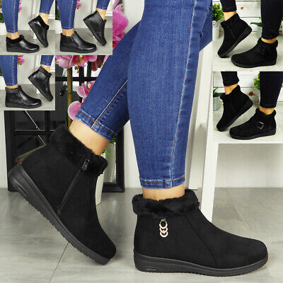 £13.99 • Buy Ladies Low Ankle Boots Womens Faux Fur Lining Zip Winter Grip Sole Warm Shoes