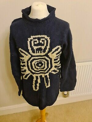 Vintage Hand Knit Jumper From ECUADOR L WOOL PACHAMAMA • 32£
