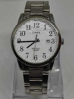 Timex & Easy Reader Date 38mm Bracelet Watch Silvertone/White Used • 0.99£