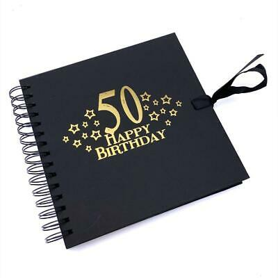 £13.99 • Buy 50th Birthday Black Scrapbook, Guest Book Or Photo Album With Gold