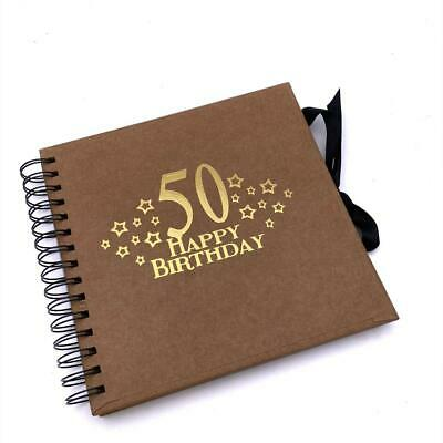 £13.99 • Buy 50th Birthday Brown Scrapbook, Guest Book Or Photo Album With Gold Script