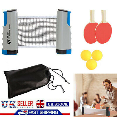 Retractable Table Tennis Set Kit Ping Pong Portable Net Games Rackets+3 Balls NE • 11.58£