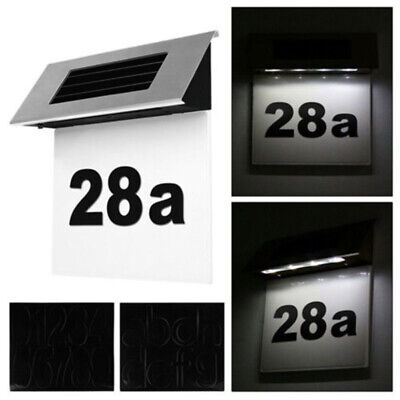 LED Solar Powered Address Sign Routed Back Lighted Sign House Number Plaque Top • 15.08£