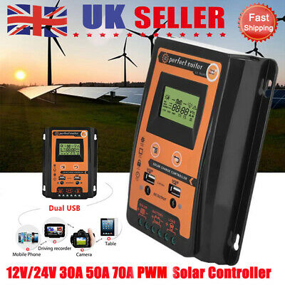 12/24V 50/70A MPPT Solar Charge Controller Panel Battery Regulator LCD Display • 49.99£